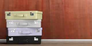 Travel suitcases stack - stucco wall background. 3d illustration Royalty Free Stock Image
