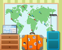 Travel Suitcases With Stickers And World Map Royalty Free Stock Photo