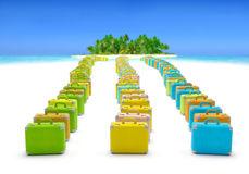Travel suitcases. Travel summer holiday voyage background template (creative concept ). Colored vibrant suitcases extend (tail) to tropical island (seaside) as Royalty Free Stock Image