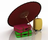 Travel suitcases and umbrella Stock Images