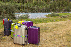Travel Suitcases in Wilderness Area Royalty Free Stock Photography