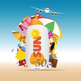 Travel summer background with sun cream illustration stock illustration