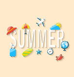 Travel Summer Background with Tourism Objects and Equipments. Illustration Travel Summer Background with Tourism Objects and Equipments, Colorful Flat Icons with Stock Photos