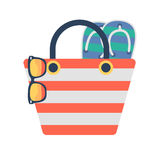 Travel summer beach bag illustration icon Royalty Free Stock Photos