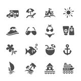 Travel and summer beach icon set 2, vector eps10 Royalty Free Stock Image