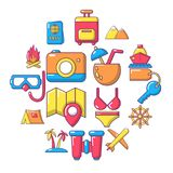 Travel summer icons set, cartoon style. Travel summer icons set. Cartoon illustration of 16 building vehicles vector icons for web Royalty Free Illustration