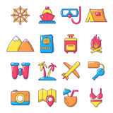 Travel summer icons set, cartoon style Royalty Free Stock Photos