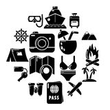Travel summer icons set, simple style. Travel summer icons set. Simple illustration of 16 building vehicles vector icons for web Royalty Free Illustration