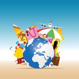 Travel summer illustration with big globe stock illustration