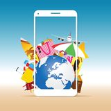 Travel summer illustration with white phone vector illustration