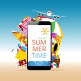 Travel summer illustration with white smartphone and message vector illustration