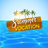 Travel summer island vocation. Island Beach with palms, blue water and sky. Royalty Free Stock Photography