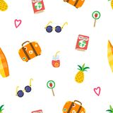 Travel summer pattern with hand drawn pineapple, sunglasses, suitcase, pink hearts, passport, cocktail, lollipop. Surfboard. Modern template for print banner vector illustration