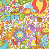 Travel summer seamless pattern with doodle elements Royalty Free Stock Photos
