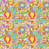 Travel summer seamless pattern with doodle elements Stock Photography