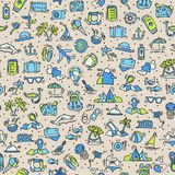 Travel and summer seamless pattern, journey and trip background. Adventure time pattern in hand draw style, vector Royalty Free Stock Images