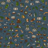 Travel and summer seamless pattern, journey and trip background. Adventure time pattern in hand draw style, vector Stock Image