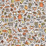 Travel and summer seamless pattern, journey and trip background  Royalty Free Stock Photos