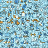 Travel and summer seamless pattern, journey and trip background. Adventure time pattern in hand draw style, vector Stock Photography