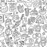 Travel and summer seamless pattern, journey and trip background. Adventure time pattern in hand draw style, vector. Sketch elements on repeatable pattern with Stock Photos