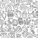Travel and summer seamless pattern, journey and trip background. Adventure time pattern in hand draw style, vector. Sketch elements on repeatable pattern with Stock Image