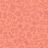 Travel and summer seamless pattern, journey and trip background. Adventure time pattern in hand draw style, vector Royalty Free Stock Photos