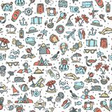 Travel and summer seamless pattern, journey and trip background. Adventure time pattern in hand draw style, vector Royalty Free Stock Photo