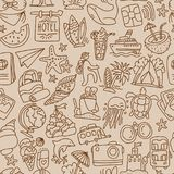 Travel and summer seamless pattern, journey and trip background. Adventure time pattern in hand draw style, vector. Sketch elements on repeatable pattern with Royalty Free Stock Photo