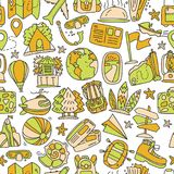 Travel and summer seamless pattern, journey and trip background. Adventure time pattern in hand draw style, vector. Sketch elements on repeatable pattern with Stock Images