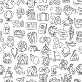 Travel and summer seamless pattern, journey and trip background. Adventure time pattern in hand draw style, vector. Sketch elements on repeatable pattern with Royalty Free Stock Image