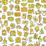 Travel and summer seamless pattern, journey and trip background.   Stock Images