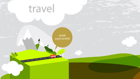 Travel. Summer vacation concept, abstract vector illustration, bus on the road royalty free illustration