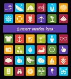 Travel, Summer and Vacation icons set - Illustration Stock Images