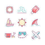 Travel and summer vacation sings set. Thin line art icons. Flat Royalty Free Stock Photos