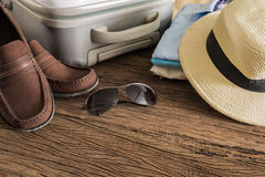 Travel, summer vacation, tourism and objects concept Stock Photos