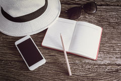 Travel, summer vacation, tourism and objects concept Stock Photography