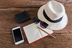 Travel, summer vacation, tourism and objects concept Royalty Free Stock Photos