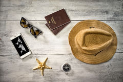 Travel, summer vacation, tourism and objects concept smartphone Royalty Free Stock Image
