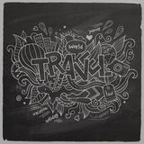 Travel Summer Vector hand lettering On Chalkboard Stock Image