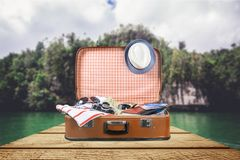 Travel. Sunglasses old tour baggage object holidays royalty free stock photos