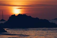 Travel. Sunset beach sea sand sky Royalty Free Stock Photo