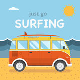 Travel Surfing Coach Bus on Summer Beach Stock Photography