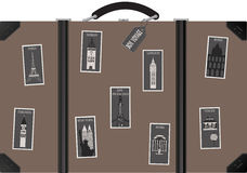 Travel sutecase with stamps. Travel suitcase with  postage stamps with famous cities. Vector Stock Photo