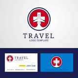 Travel Switzerland Creative Circle flag Logo and Business card d. Esign - This Vector EPS 10 illustration is best for print media, web design, application design stock illustration