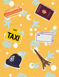 Travel symbols. Different travel symbols on the beige background Stock Image