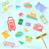 Travel symbols. Collection of cute travel symbols