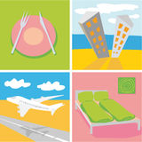 Travel symbols. Four travel symbol in modern colors Royalty Free Stock Photos