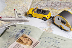 Travel symbols and ID documents Royalty Free Stock Photo