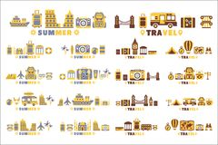 Travel Symbols Set By Five In Line Collection Of Clipart Vector vector illustration