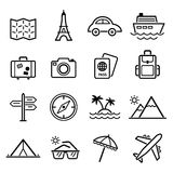 Travel symbols and Tourism signs, vector Stock Image